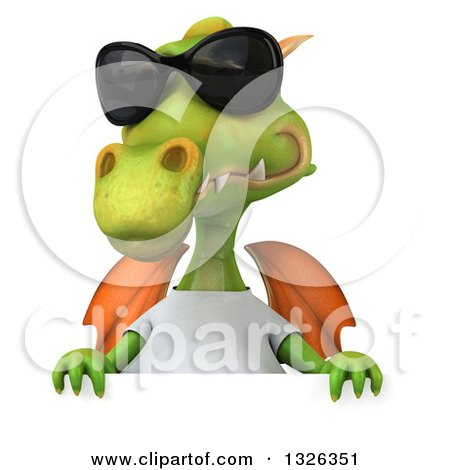 Clipart of a 3d Casual Green Dragon Wearing Sunglasses and a White T Shirt over a Sign - Royalty Free Illustration by Julos
