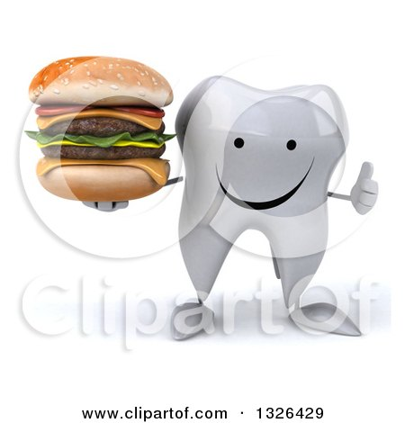 Clipart of a 3d Happy Tooth Character Giving a Thumb up and Holding a Double Cheeseburger - Royalty Free Illustration by Julos