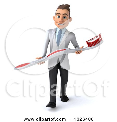 Clipart of a 3d Happy Young Brunette White Male Dentist Carrying a Giant Toothbrush - Royalty Free Illustration by Julos