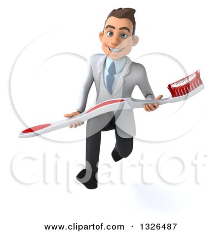 Clipart of a 3d Happy Young Brunette White Male Dentist Sprinting and Carrying a Giant Toothbrush - Royalty Free Illustration by Julos