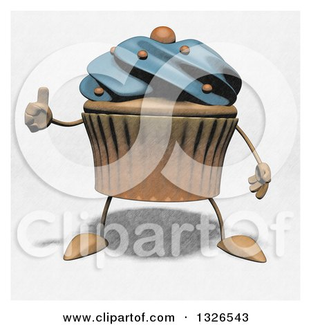 Clipart of a Sketched Blue Frosted Cupcake Character Giving a Thumb up - Royalty Free Illustration by Julos