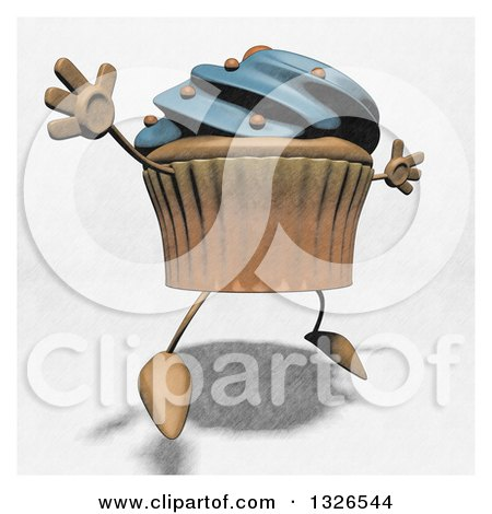 Clipart of a Sketched Blue Frosted Cupcake Character Facing Right and Jumping - Royalty Free Illustration by Julos