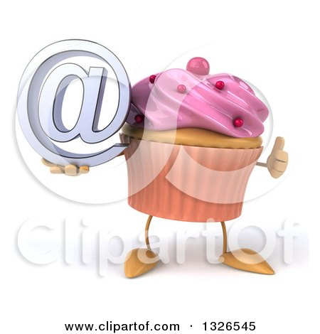 Clipart of a 3d Pink Frosted Cupcake Character Holding an Email Arobase at Symbol and Giving a Thumb up - Royalty Free Illustration by Julos