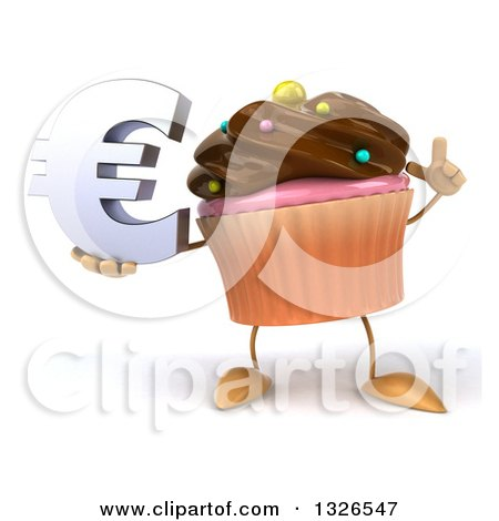 Clipart of a 3d Chocolate Frosted Cupcake Character Holding up a Finger and a Euro Symbol - Royalty Free Illustration by Julos