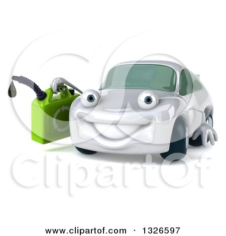 Clipart of a 3d White Porsche Car Character Facing Slightly Left and Holding a Gas Can - Royalty Free Illustration by Julos