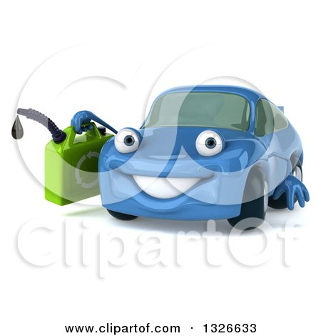 Clipart of a 3d Blue Porsche Car Character Facing Slightly Left and Holding a Gas Can - Royalty Free Illustration by Julos