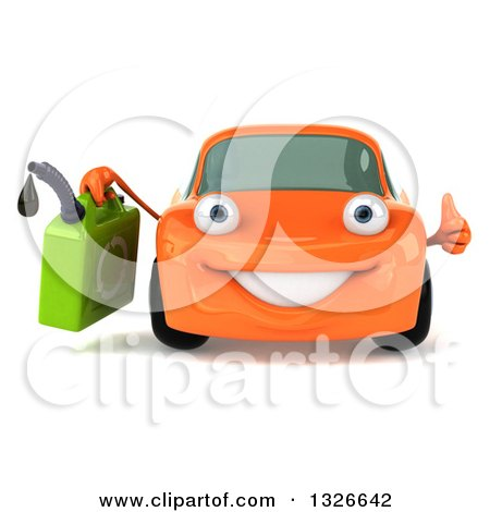 Clipart of a 3d Orange Porsche Car Character Giving a Thumb up and Holding a Gas Can - Royalty Free Illustration by Julos