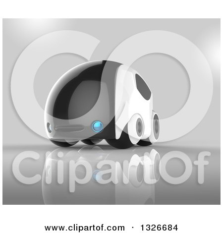 Clipart of a 3d Futuristic Compact Self Driving Car on Gray - Royalty Free Illustration by Julos