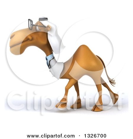 Clipart of a 3d Bespectacled Arabian Doctor Camel Walking to the Left - Royalty Free Illustration by Julos