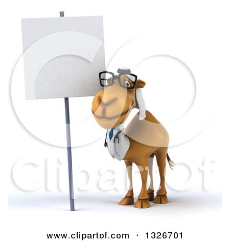 Clipart of a 3d Bespectacled Arabian Doctor Camel by a Blank Sign - Royalty Free Illustration by Julos