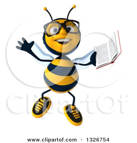 Clipart of a 3d Happy Bespectacled Business Bee Jumping and Holding a Book - Royalty Free Illustration by Julos