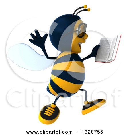 Clipart of a 3d Happy Bespectacled Business Bee Facing Right, Jumping and Holding a Book - Royalty Free Illustration by Julos