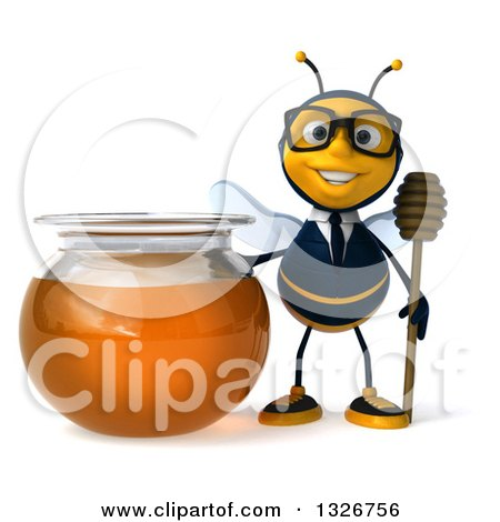 Clipart of a 3d Happy Bespectacled Business Bee Holding a Dipper by a Honey Jar - Royalty Free Illustration by Julos