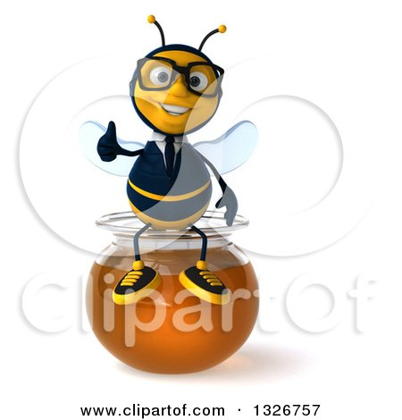 Clipart of a 3d Happy Bespectacled Business Bee Giving a Thumb up and Sitting on a Honey Jar - Royalty Free Illustration by Julos