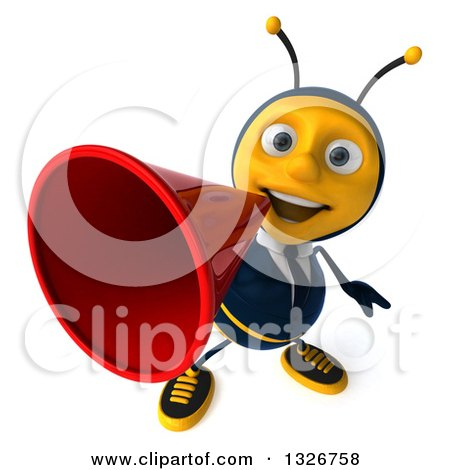 Clipart of a 3d Happy Business Bee Announcing Upwards with a Megaphone - Royalty Free Illustration by Julos