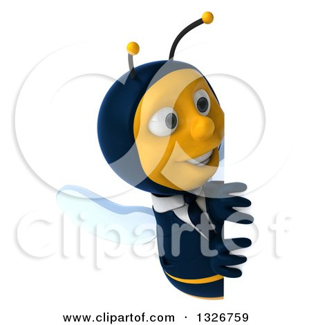 Clipart of a 3d Happy Business Bee Looking Around a Sign - Royalty Free Illustration by Julos