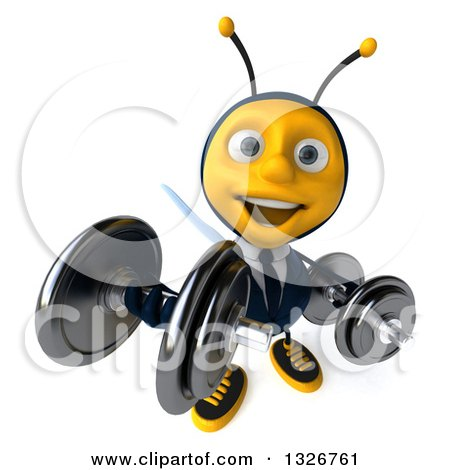 Clipart of a 3d Happy Business Bee Working Out, Looking Up, Doing Bicep Curls with Dumbbells - Royalty Free Illustration by Julos