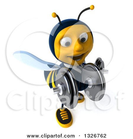 Clipart of a 3d Happy Business Bee Working Out, Facing Slightly Right, Doing Bicep Curls with Dumbbells - Royalty Free Illustration by Julos