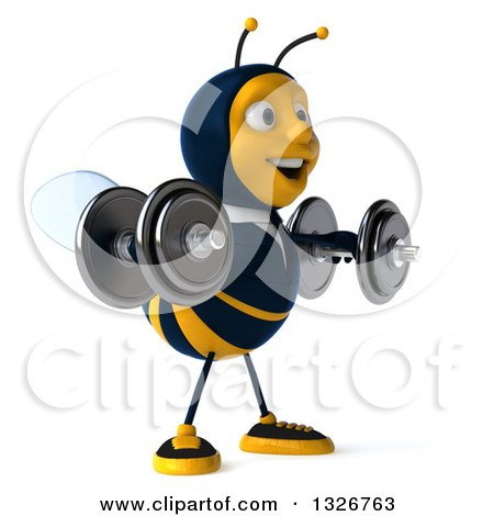 Clipart of a 3d Happy Business Bee Facing Right, Working Out, Doing Lateral Raises with Dumbbells - Royalty Free Illustration by Julos