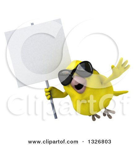 Clipart of a 3d Yellow Bird Wearing Sunglasses and Flying to the Left with a Blank Sign - Royalty Free Illustration by Julos