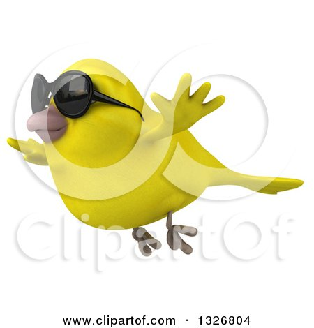 Clipart of a 3d Yellow Bird Wearing Sunglasses and Flying to the Left - Royalty Free Illustration by Julos