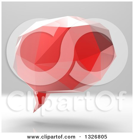 Clipart of a 3d Red Geometric Speech Bubble on Gradient Gray - Royalty Free Illustration by Julos