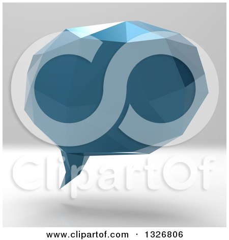 Clipart of a 3d Blue Geometric Speech Bubble on Gradient Gray - Royalty Free Illustration by Julos