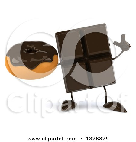 Clipart of a 3d Chocolate Candy Bar Character Holding up a Finger and a Donut - Royalty Free Illustration by Julos