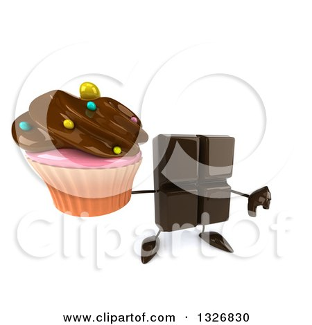 Clipart of a 3d Chocolate Candy Bar Character Holding up a Thumb down and a Cupcake - Royalty Free Illustration by Julos