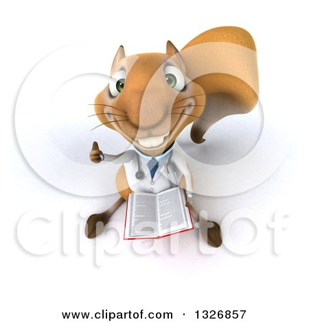 Clipart of a 3d Bespectacled Doctor or Veterinarian Squirrel Holding up a Thumb and Book - Royalty Free Illustration by Julos