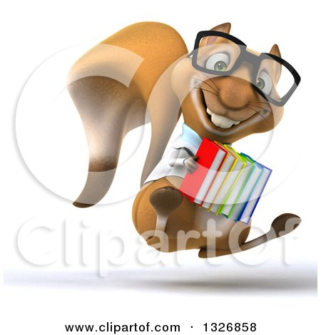 Clipart of a 3d Bespectacled Doctor or Veterinarian Squirrel Facing Slightly Right, Hopping and Holding Books - Royalty Free Illustration by Julos