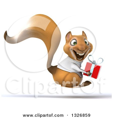 Clipart of a 3d Doctor or Veterinarian Squirrel Holding a Gift and Hopping to the Right - Royalty Free Illustration by Julos