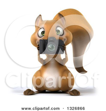 Clipart of a 3d Squirrel Holding a Camera and Taking Pictures - Royalty Free Illustration by Julos