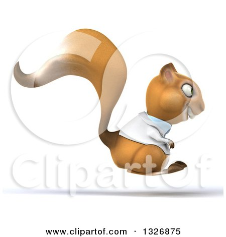 Clipart of a 3d Doctor or Veterinarian Squirrel Hopping to the Right - Royalty Free Illustration by Julos