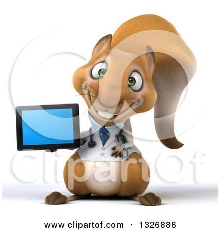Clipart of a 3d Doctor or Veterinarian Squirrel Holding a Tablet Computer - Royalty Free Illustration by Julos