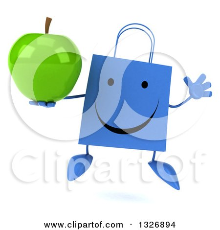 Clipart of a 3d Happy Blue Shopping or Gift Bag Character Jumping and Holding a Green Apple - Royalty Free Illustration by Julos