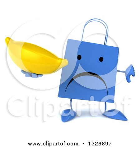 Clipart of a 3d Unhappy Blue Shopping or Gift Bag Character Holding a Thumb down and a Banana - Royalty Free Illustration by Julos