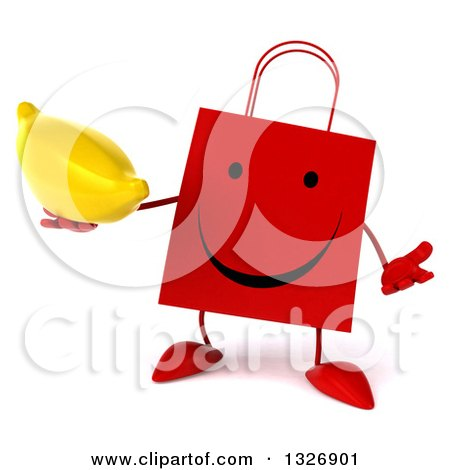 Clipart of a 3d Happy Red Shopping or Gift Bag Character Shrugging and Holding a Banana - Royalty Free Illustration by Julos