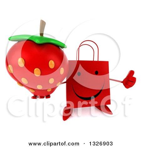 Clipart of a 3d Happy Red Shopping or Gift Bag Character Holding up a Thumb and Strawberry - Royalty Free Illustration by Julos