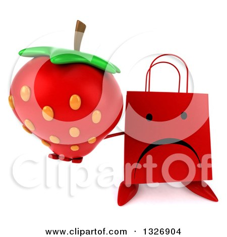 Clipart of a 3d Unhappy Red Shopping or Gift Bag Character Holding up a Strawberry - Royalty Free Illustration by Julos