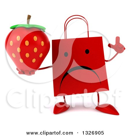 Clipart of a 3d Unhappy Red Shopping or Gift Bag Character Holding up a Finger and Strawberry - Royalty Free Illustration by Julos