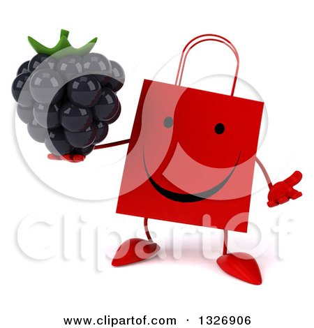Clipart of a 3d Happy Red Shopping or Gift Bag Character Shrugging and Holding a Blackberry - Royalty Free Illustration by Julos