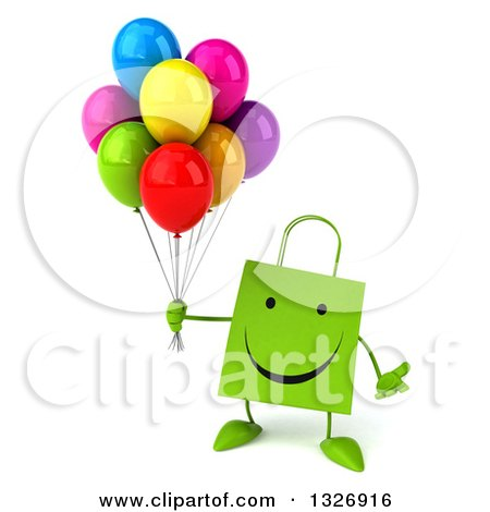 Clipart of a 3d Happy Green Shopping or Gift Bag Character Shrugging and Holding Party Balloons - Royalty Free Illustration by Julos