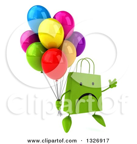 Clipart of a 3d Unhappy Green Shopping or Gift Bag Character Facing Slightly Right, Jumping and Holding Party Balloons - Royalty Free Illustration by Julos