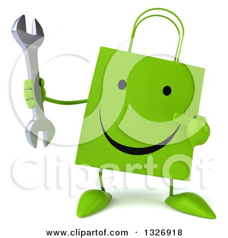 Clipart of a 3d Happy Green Shopping or Gift Bag Character Holding and Pointing to a Wrench - Royalty Free Illustration by Julos