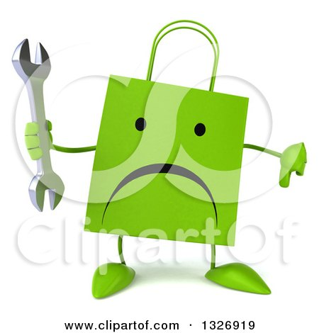 Clipart of a 3d Unhappy Green Shopping or Gift Bag Character Giving a Thumb down and Holding a Wrench - Royalty Free Illustration by Julos
