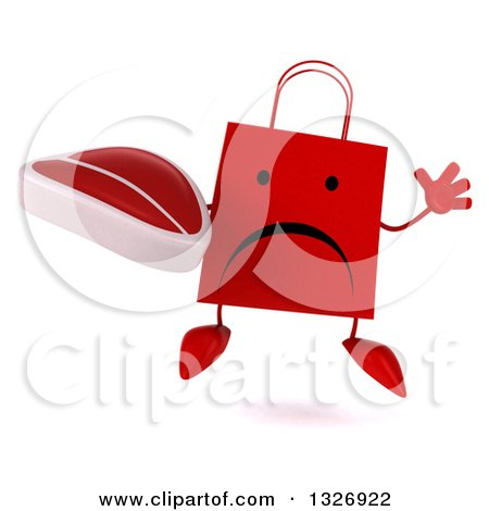 Clipart of a 3d Unhappy Red Shopping or Gift Bag Character Jumping and Holding a Beef Steak - Royalty Free Illustration by Julos