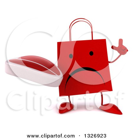 Clipart of a 3d Unhappy Red Shopping or Gift Bag Character Holding up a Finger and a Beef Steak - Royalty Free Illustration by Julos