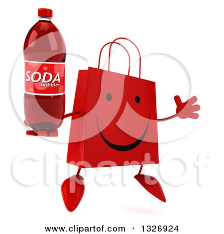 Clipart of a 3d Happy Red Shopping or Gift Bag Character Facing Slightly Right, Jumping and Holding a Soda Bottle - Royalty Free Illustration by Julos