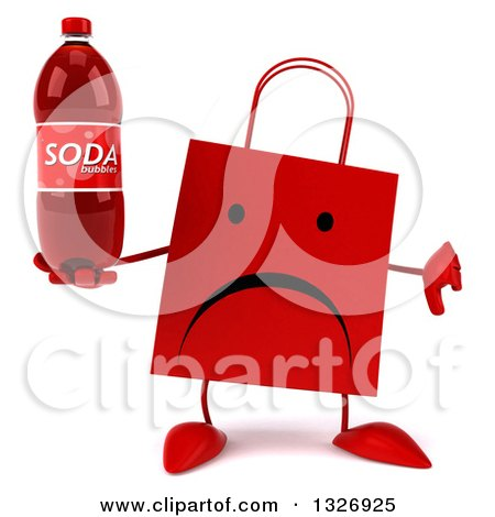 Clipart of a 3d Unhappy Red Shopping or Gift Bag Character Giving a Thumb down and Holding a Soda Bottle - Royalty Free Illustration by Julos